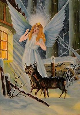 CHRISTMAS ANGEL artist signed print (11 3/4 x 8 1/2 inches)