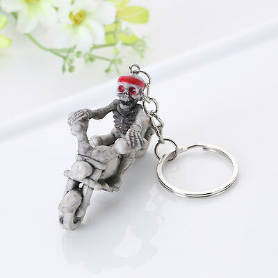 Rubber Keychain Keyring Key Chain Chain Bag Charm Pendant gift Skull motorcycle