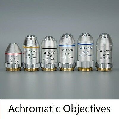 4X 10X 40X 100X Achromatic Objective for Biological Microscope 160/0.17 195 mm