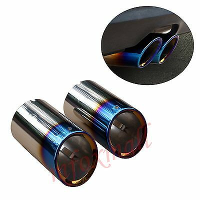 2X Blue Tail Muffler Rear Pipe Tip Exhaust For BMW X3 F25 xDrive 28i 2011-2014