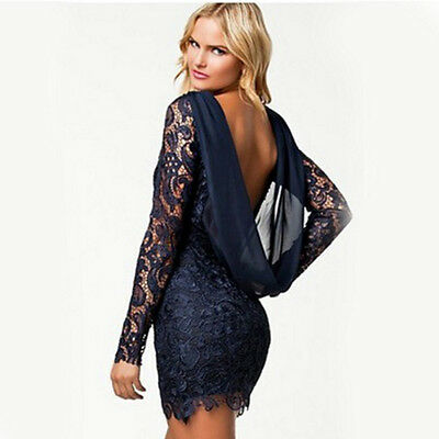 UK Women Lace Bodycon Backless Mini Dress Long Sleeve Hollow Party Evening Dress