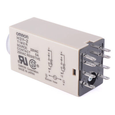 AC 220V H3Y-2 Time Relay Delay Timer 0~60 Second DPDT with Base Socket BI600