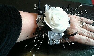 Black & White Wrist Corsage Cruise Prom Wedding