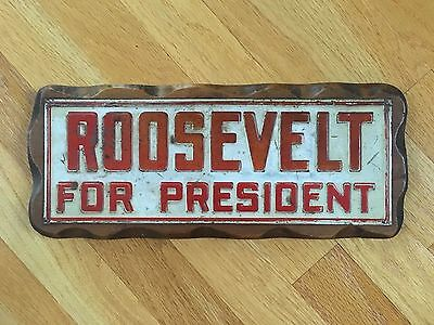 Vintage Roosevelt Campaign For President Embossed Tin Advertising Sign