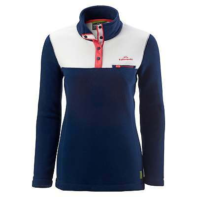 Kathmandu Pelorus Womens High Neck Snap Button Warm Outdoor Fleece Pullover Navy