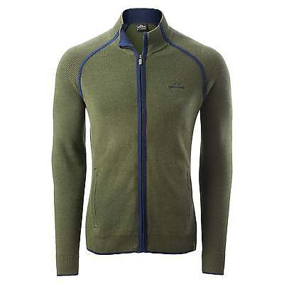 Kathmandu Lomond Mens Zip Thru Knitted Cardigan Top Merino Wool Jacket v3 Green