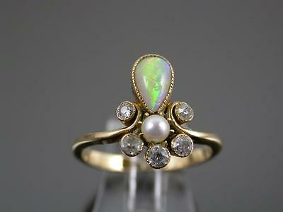 ANTIQUE VICTORIAN 15ct GOLD OPAL DIAMOND & PEARL RING C.1870