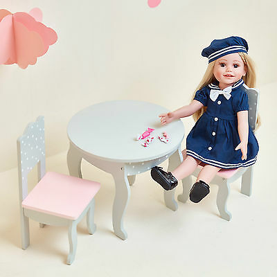 Olivia's Little World Baby Dolls House Furniture Polka Dots Table & 2 Chairs Set