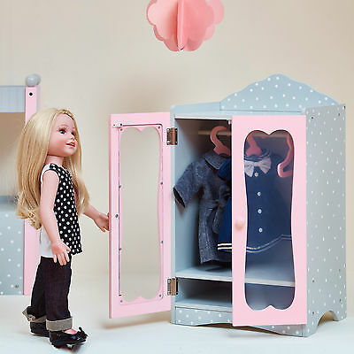 Olivia's Little World Baby Doll Furniture Polka Dots Classic Closet with Hangers