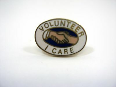 Vintage Collectible Pin: Volunteer I Care Hands Shaking Beautiful Design