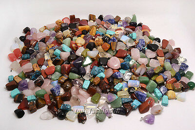 FREE Wholesale 10-100ps mixed Natural Gemstone Silver P Beads Pendant Jewelry