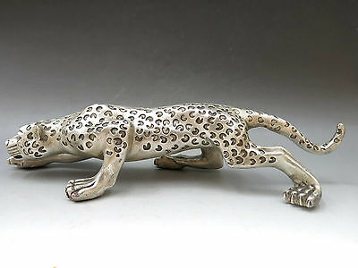 China silver carved fine luck leopard sculpture beautiful panther Statue