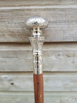 Gentlemens Classic Style Brown Wooden Walking Stick Cane Brass Handle Nickel