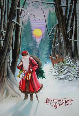 SANTA CLAUS IN WOODS artist signed print SMALLER SIZE (11 3/4 x 8 1/2 inches)