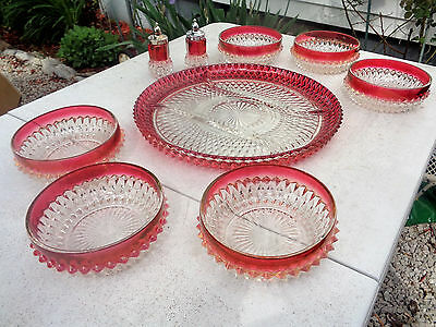 """Indiana Glass Diamond Point Ruby Flash Oval Divided 12"""" Platter 6 Bowls S&P EC"""