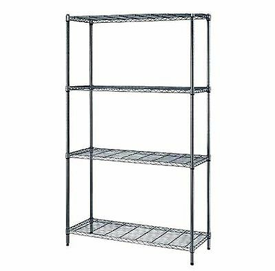 "Quantum 4-Shelf Chrome Wire Shelving Storage Rack 24""W X 48""L X 72""H Free Ship"