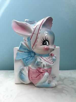VERY RARE Lefton Bunny with Diaper, Bib and Bonnet Wall Pocket/Planter