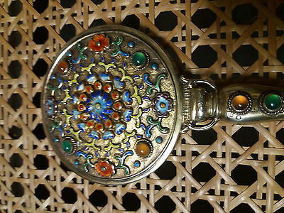 antique chinese european export silver gold gilt enamelled hand mirror