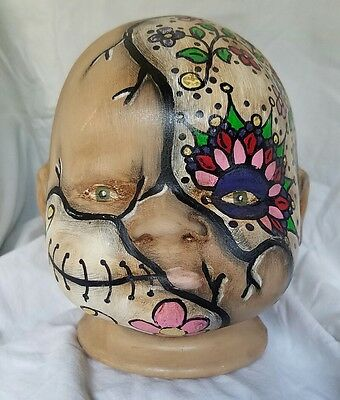 Large Day of the Dead Folk Art Outsider Sculpture Piggy Bank Pig Sugar Skull