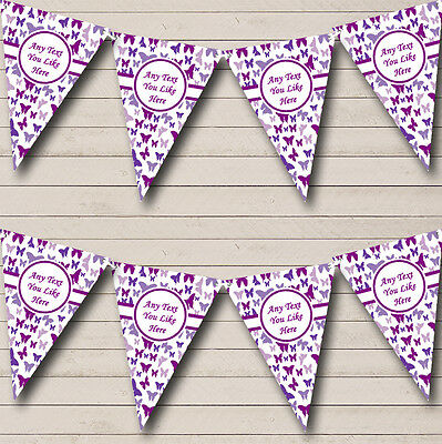 Beautiful Purple Butterfly Shabby Chic Garden Tea Party Bunting Banner