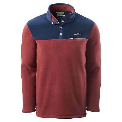 Kathmandu Pelorus Mens High Neck Snap Button Warm Outdoor Fleece Pullover Brown