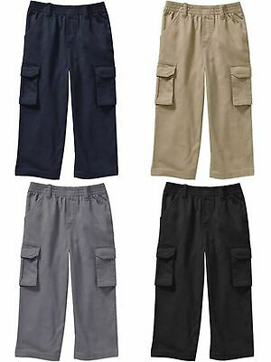 Toddler Boys Solid Black 100% Cotton Cargo Pants 4 Pockets 3T NEW
