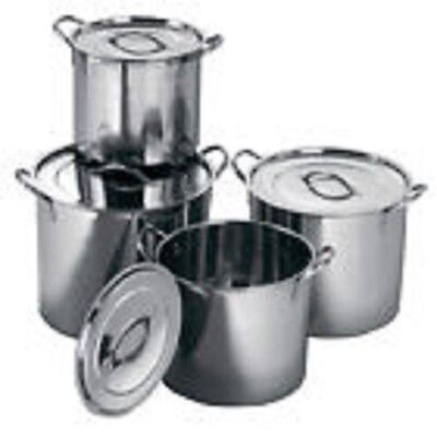 4Pc Large Stainless Steel Catering Deep Stock Soup Boiling Pot Stockpots Set New