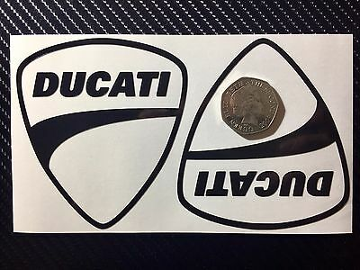 2x Black Reflective DUCATI Shields SAFETY Motorcycle Helmet Sticker Hi Viz TT