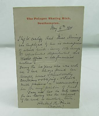 Antique Polygon Ice Skating Rink Southampton Signed Letter Hanning Pre-Ww1