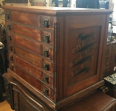 JP Coats Antique Sewing Cabinet 6 Drawer Cubbie Old Advertising Jewelry Case