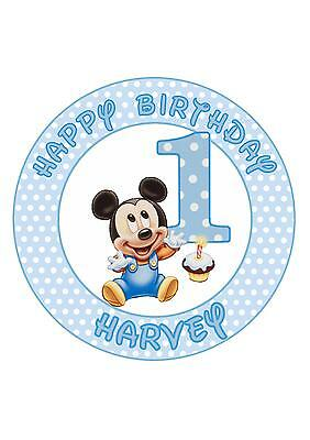Awesome Mickey Mouse 1St Birthday 20 X 2 Or Large 7 5 Edible Cake Personalised Birthday Cards Petedlily Jamesorg