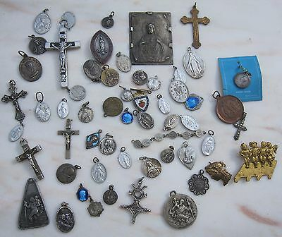 Lot Antique Vintage Catholic Religious Holy Medals Pendant  Brooch enamel old