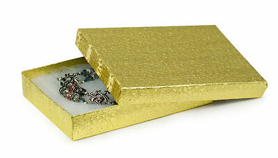 "Gold Foil Jewelry Gift Boxes 100 Textured Cotton Filled Retail 5 ¼"" x 3 ¾"" x 1"