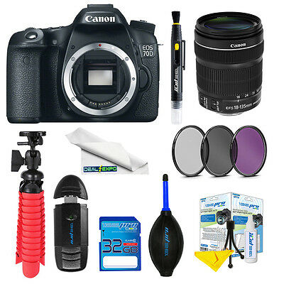 Canon EOS 70D DSLR Canon EF-S 18-135mm f/3.5-5.6 IS STM Lens +Expo-Advanced Kit