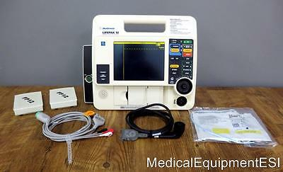 Lifepak 12 Biphasic 3 Lead ECG Pacing Analyze ECG Cable 2 Batteries Pads