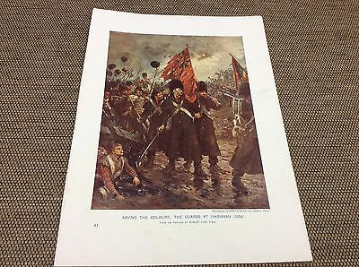 1912 Antique Colour Print - Saving the colours - The Guards at Inkerman 1854