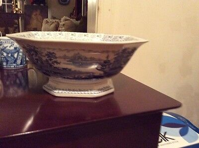 Blue And White Staffordshire Compote- 19th Century!