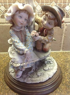 Vintage Capodimonte  Boy & Girl Figurine On Bench Courting First Love