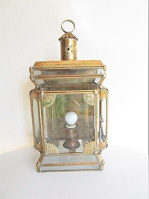 VTG Middle Eastern Wall Hanging Electrical Lantern Brass & Glass Boho Chic Lamp