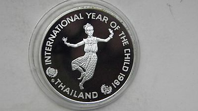 1981 Thailand 200 Baht Year of the Child Silver Proof coin