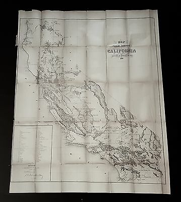 HUGE Orig 1858 CALIFORNIA MAP Los Angeles-San Diego-Lake Tahoe-Coachella Valley