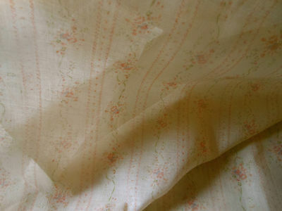 Vtg. Light Floral Lisere Stripe Voile Cotton or Blend Fabric ~ Peach ~ dolls