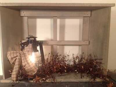 Country Primitive Window Shelf With Lantern And Berries Farmhouse Rustic Decor