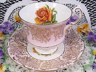 Paragon Orange Rose Gold Chintz Pink Tea Cup And Saucer