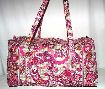 New VERA BRADLEY large duffeL PAISLEY MEETS PLAID