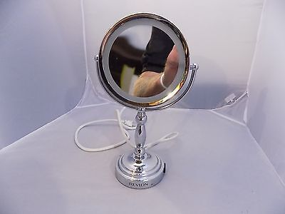 Revlon Lighted Touch Makeup Mirror Two Sided 110v With Plug in on Lamp Base