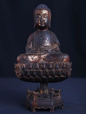 Amazing Rare Old Chinese Bronze Buddha Seated On Lotus Base Statue Marked AA037