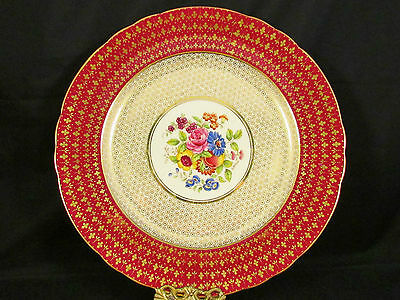 """Aynsley Artist Signed Bentley Hand Painted Floral Cabinet 10"""" Plate"""