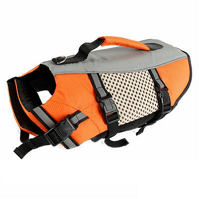 Hot Dog Life Jacket Pet Swimming Outdoor Mesh Vest W/Handle Water Safety Saver