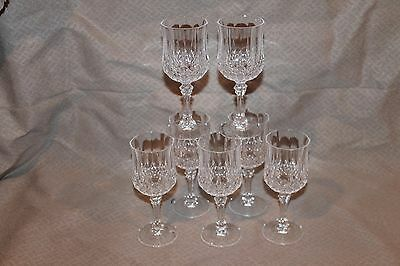 "8 CRISTAL D'ARQUES LONGCHAMP CRYSTAL Wine Water GLASSES 6 OZ  - 6.5"" TALL"